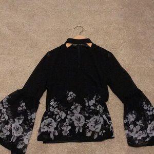 Black Grey Floral Bell Sleeve Choker Top 2 WHBM